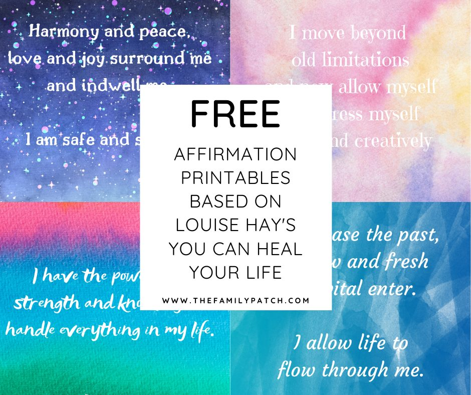 collage of affirmation printables