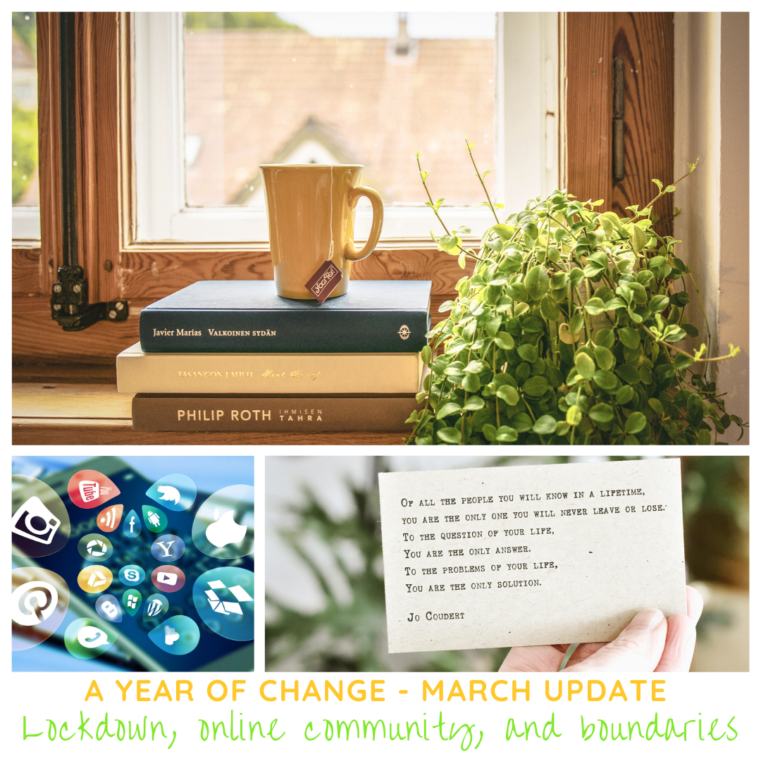 collage image of a pile of books on a windowsill with a mug of tea on top and a plant beside them; a flurry of social media icons, and a quote about loving and trusting yourself.