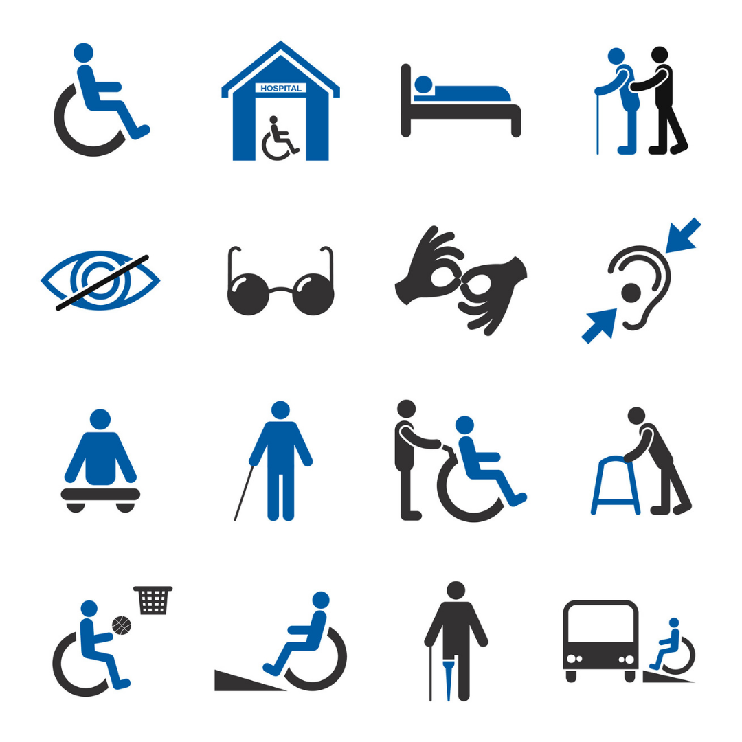 a white square with 16 icons on it depicting various forms of disability in black and blue colours. From top left to bottom right these icons are: someone in a wheelchair; a wheelchair in a house; someone in bed; someone helping another person using a cane; an eye with a line drawn diagnonally through it, a pair of dark lensed glasses, two hands using sign language; an ear with two arrows pointing to a hearing aid, someone sitting on a bench, someone using a cane, someone being pushed in a wheelchair; someone using a walking frame; a wheelchair user playing basketball, a wheelchair using a ramp, someone with a prosthetic leg using a cane; and a wheelchair user getting onto a bus.