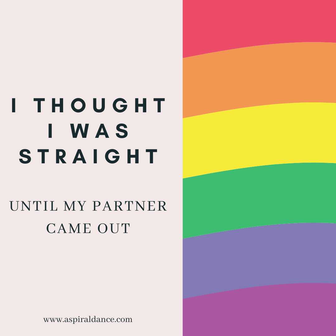 """An image split in half vertically. On the left hand side there is text that reads """"I thought I was straight until my partner came out"""" on a beige background. On the right is a rainbow of colours."""