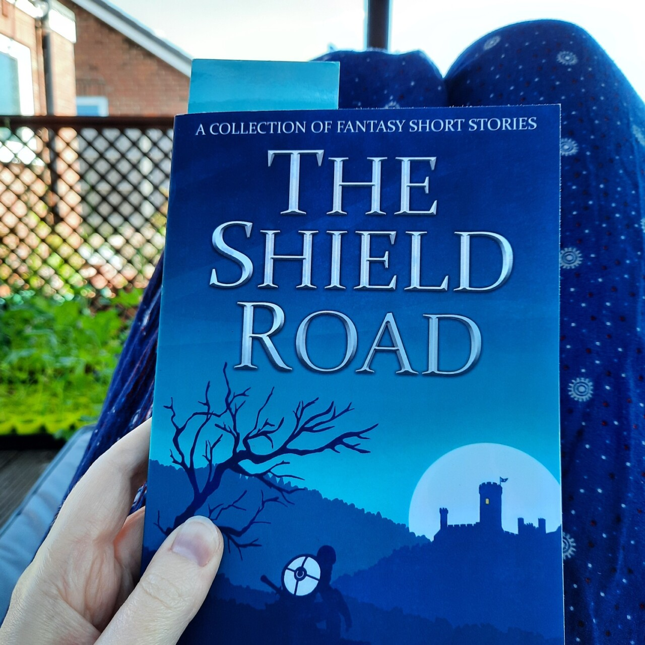 The book The Shield Road by Dewi Hargreaves is being held and rested on my legs as I sit in the garden. The book has a blue cover showing a castle in the distance in front of a full moon. In the foreground the silhouette of a character with a shield on their back crouches under a tree with bare branches.